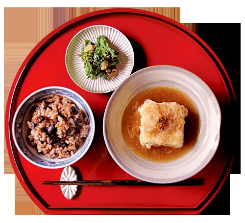 揚げ出し豆腐、黒豆ご飯、春菊のくるみ和え