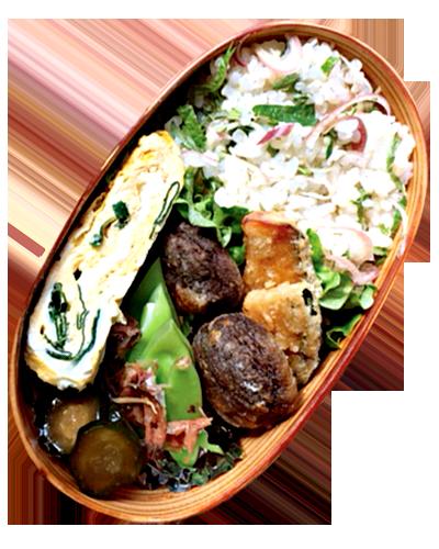 竜田揚げ、ネギとわかめの卵焼き、モロッコいんげんのかつお和え、きゅうりのキューちゃん、みょうがと大葉の混ぜご飯