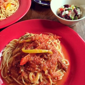 トマトとなすのパスタ