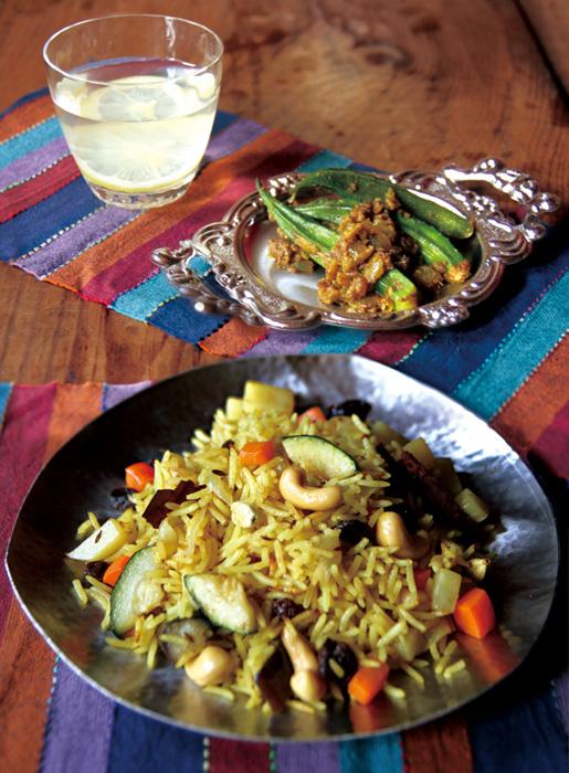 ビリヤニ(インド風炊き込みご飯)サブジ(蒸し煮)