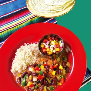 チリビーンズ、メキシカンサラダ、トルティーヤ(薄焼きパン)
