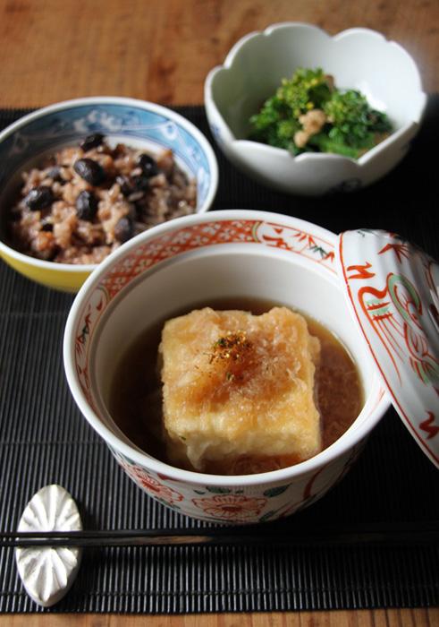 揚げ出し豆腐の春大根のみぞれがけ、黒豆ご飯、春菊のくるみ和え